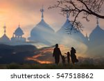 muslim family silhouettes... | Shutterstock . vector #547518862