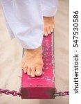 close up female feet balancing... | Shutterstock . vector #547530586