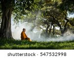 Buddhist Monk Meditating Under...