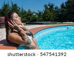 relaxed tattooed woman portrait ... | Shutterstock . vector #547541392