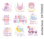 Stock vector baby nursery room print design templates collection in cute girly manner with text messages 547550035