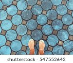 city street tile and woman's... | Shutterstock . vector #547552642