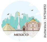 mexico city skyline with... | Shutterstock .eps vector #547564852
