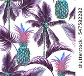 tropical seamless vector floral ... | Shutterstock .eps vector #547582282