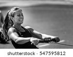 female athlete on rowing... | Shutterstock . vector #547595812