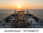 Oil Tanker Deck During Sunrisre.