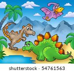 landscape with dinosaurs 2  ... | Shutterstock . vector #54761563
