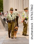 Small photo of SANTIAGO, CHILE - NOV 1, 2014: Unidentified Chilean police woman with a dog in Santiago. Chilean people are mainly of mixed Spanish and Amerindian descent