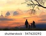 muslim family silhouettes... | Shutterstock . vector #547620292