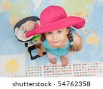 Ready for travel around the world (Blurred map background) - stock photo