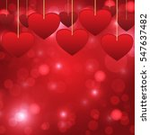 red hearts hanging for... | Shutterstock .eps vector #547637482