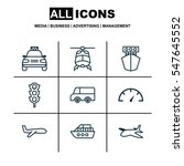 set of 9 transportation icons.... | Shutterstock . vector #547645552