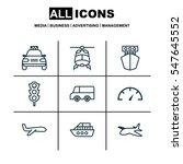 set of 9 transportation icons.... | Shutterstock . vector #547645552