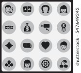 set of 16 editable casino icons....