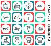 set of 16 transportation icons. ... | Shutterstock . vector #547649635
