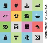 set of 16 editable cleaning... | Shutterstock . vector #547650565