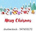 winter landscape with figures... | Shutterstock .eps vector #547653172