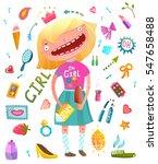 girlish clip art collection... | Shutterstock .eps vector #547658488