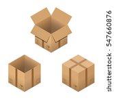 set of nine isometric cardboard ... | Shutterstock .eps vector #547660876
