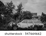 old wreck rusted car. | Shutterstock . vector #547664662