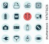 set of 16 computer hardware... | Shutterstock .eps vector #547673626