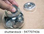 hand drop coin bath in a bottle ... | Shutterstock . vector #547707436