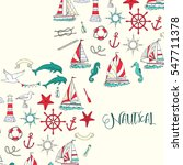 nautical background with ships... | Shutterstock .eps vector #547711378
