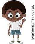 happy black kid waving hello | Shutterstock .eps vector #547714102