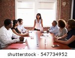 businesswoman addressing... | Shutterstock . vector #547734952