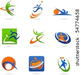 colorful abstract fitness icons   Shutterstock .eps vector #54774658