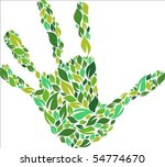 Green Hand Made From Leaves...