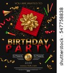 birthday party poster with red... | Shutterstock .eps vector #547758838