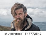 handsome man hipster with beard ... | Shutterstock . vector #547772842