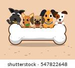 cartoon dogs and big bone   Shutterstock .eps vector #547822648