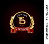 15 years gold anniversary...   Shutterstock .eps vector #547828855