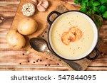 homemade potato cream soup with ... | Shutterstock . vector #547844095