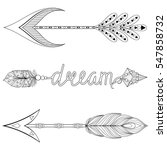 bohemian dream arrows set with... | Shutterstock .eps vector #547858732
