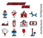 amusement park flat icons set... | Shutterstock . vector #547863166