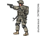 american soldier with gun | Shutterstock .eps vector #547881346