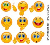 set of beautiful smiley faces   ... | Shutterstock .eps vector #547892428