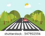 crosswalk path on road with car ... | Shutterstock .eps vector #547902556