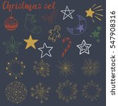 hand drawn christmas doodles set | Shutterstock .eps vector #547908316