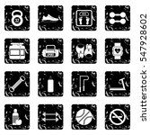 gym set icons in grunge style...