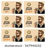 hipster holding a glasses with... | Shutterstock .eps vector #547944232
