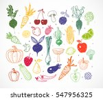 colored doodle fruits and... | Shutterstock .eps vector #547956325