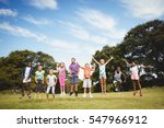 smiling kids jumping together... | Shutterstock . vector #547966912