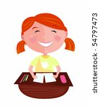 back to school  happy red hair... | Shutterstock .eps vector #54797473