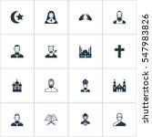 set of 16 simple faith icons.... | Shutterstock .eps vector #547983826