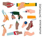 hands with construction tools... | Shutterstock .eps vector #547991452
