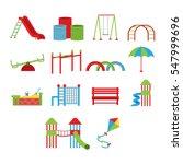 kids playground. swings ... | Shutterstock .eps vector #547999696
